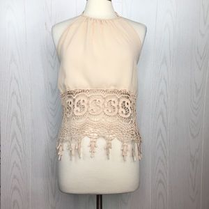 Buttons Nude Crochet Lace Trim  Top Size Small